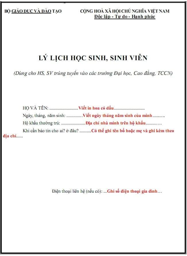 Trang bìa Lý lịch học sinh - sinh viên