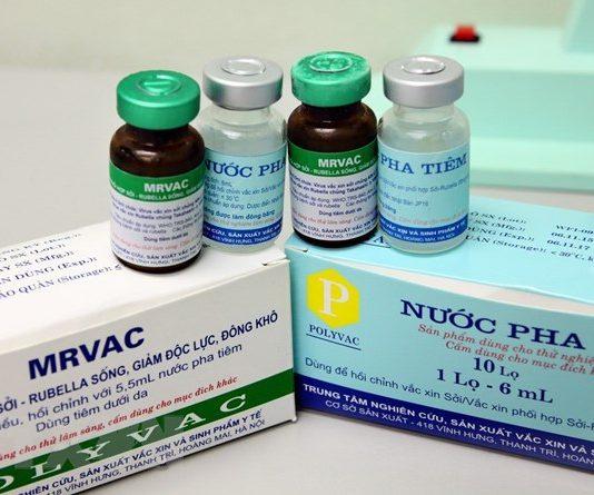 Vaccine phối hợp Sởi - Rubella do Việt Nam sản xuất.